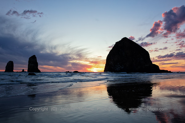 Red Lined Clouds at Cannon Beach