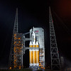 The Orion EFT-1/Delta IV Heavy rocket waits bathed in xenon lights shortly after midnight on December 4th, 2014.