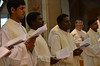 Indian students with Fr. Thomas Vinod (third from left) at the closing Mass