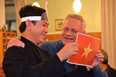 Fr. Rino Venturin, superior of Vietnam, laughs with Fr. Phong