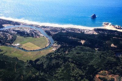 Over Pacific City and Haystack Rock, Oregon