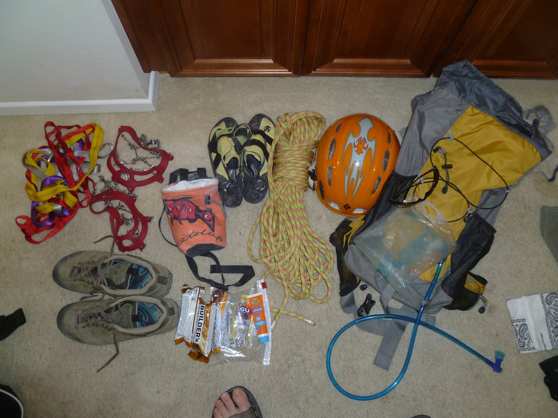 Some of the gear I thought I'd need; I didn't take the rock shoes or microspikes