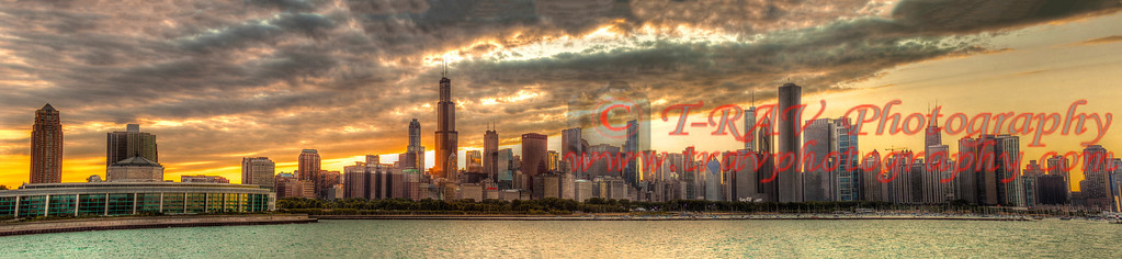 """Chicago at Dusk""   The original size of the print is 18""H x 6'-6"" Long. If you need to customize this contact me at travis@travphotography.com. You can also order here but you will have to crop it. You will not get the whole photo. This is a special order for the size mentioned above."