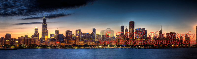 """ Chicago at Night ""   Please let me know if you are interested in photo. The original size is 12""h x 48""L. I can order this for you so that you have the full size image. Please e-mail me or call me. 724-787-4134"