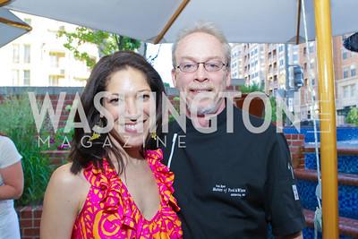 Viviana Hurtado, Brian McBride. Photo by Alfredo Flores. Park Hyatt Masters of Food and Wine Reception. Blue Duck Tavern Terrace. June 2, 2011