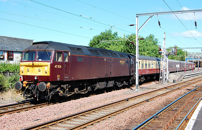 47826 is pictured on the rear of the train on arrival at Gourock. This loco later worked the 1Z71 return leg to Alnmouth via the WCML and Tyne Valley (19/06/2010)