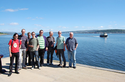 Several of us took the ferry across the Firth of Clyde and spent a very pleasant afternoon sampling the ales on offer in the Kilcreggan Hotel. The party pose for the camera on the quayside awaiting the arrival of the 'MV SeaBus' to take us back to Gourock (19/06/2010)
