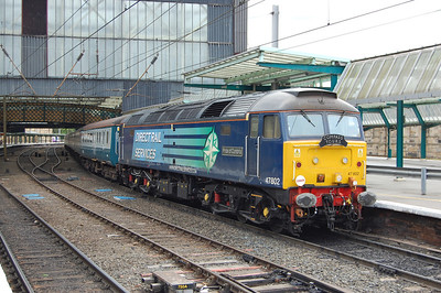 47802 'Pride of Cumbria' was on the rear of 1Z76 out of Crewe and worked the train forward to Carlisle via Garswood, Clitheroe and the S&C. The train is pictured on arrival at Carlisle (12/06/2010)