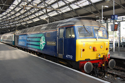 47712 'Pride of Carlisle' worked the return 1Z77 1447 from Carlisle via the Cumbrian Coast route. The former FM Rail 'Blue Pullman' liveried loco is pictured on arrival back at Liverpool Lime Street (12/06/2010)