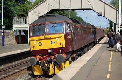 The vast majority of our number stayed over in the North East for a further tour on the Sunday, which made use of Saturday's locomotives and stock. 47760 arrives at Cramlington with 1Z72 1004 Alnmouth-Stanhope (20/06/2010)