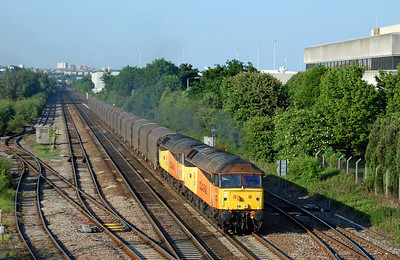 On a glorious late Spring evening, 47749 'Demelza' + 47727 'Rebecca' hurtle along the up fast line towards Beeston with 6Z57 1651 Boston Dock-Washwood Heath. Carrying around 1800 tons of imported steel, this was rumoured to be the last time that this train will run in this format (03/06/2010)