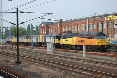 Colas Rail's other Brush Type 4, 47739 'Robin of Templecombe' is pictured in Doncaster West Yard two days later, heading a line-up of (right to Left) HNRC 20905 + 20901, and former Cotswold Rail pair 47813 + 47828 'Joe Strummer'. The loco had worked south from Kilmarnock a couple of days earlier (05/06/2010)