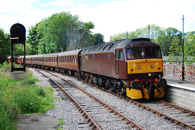 47760 draws back into Stanhope station with the empty stock for the return 1Z73 1555 Stanhope-Alnmouth North East Railtours charter (20/06/2010)