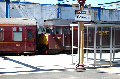 Confirmation if any was required of the first '47' to reach Gourock on a passenger train since the turn of the new millennium. '47's have visited occasionally on charters in the past, but this was certainly 'new track' for most on board (19/06/2010)