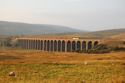 6Z41 is booked to reverse at Blea Moor, and 47739's return across the viaduct after running round coincided with the reappearance of the sun on what had earlier been a very pleasant afternoon (03/09/2010)