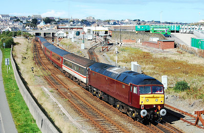 On the rear of the train was 47500, seen here shunting the empty stock into the yard at Holyhead (11/09/2010)