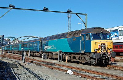 Also in Holyhead today was Arriva-liveried 57316 with the stock for the 'WAG Express' - the loco hauled train funded by the Welsh Assembly Government that makes a return trip between Holyhead and Cardiff on weekdays (11/09/2010)