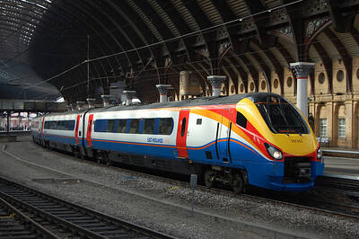 EMT's 222023 pauses under the roof in Platform 5 at York station with the 0637 St Pancras-Scarborough. This was the final time that this train was booked to run through to the coast this year (04/09/2010)