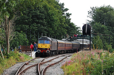 Having traversed the branch from Darlington, 47804 is pictured on arrival at the Weardale Railway's present terminus at Stanhope with 1Z88 (04/09/2010)