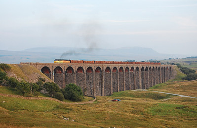 47739 'Robin of Templecombe' climbs across Ribblehead Viaduct with 6Z41 1905 Ribblehead-Chirk loaded timber train (03/09/2010)