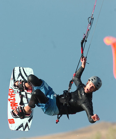 WIND46.JPG Kermit Lohry looks way down at the water as he is one of the few kite boarders to brave what some at Boulder Reservoir estimated to be 50 to 70 miles per hour wind gusts on late Monday afternoon. <br /> Photo by Paul Aiken
