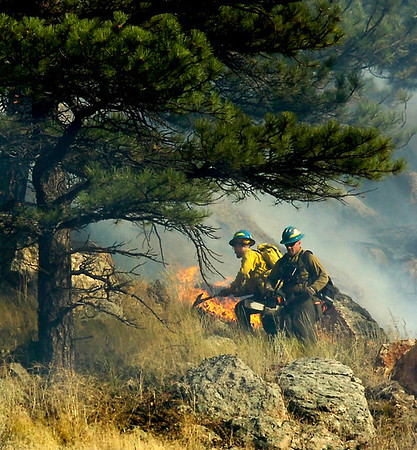 COBOU1113.JPG Firefighters work the ridgeline above Boulder Canyon as trees catch fire near Boulder in the Dome Fire on Friday morning October 29, 2010.<br /> Photo by Paul Aiken / The Camera