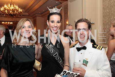 Stephanie Nitzschlee,  Miss District of Columbia Stephanie Williams, Christopher Burns. Photo by Alfredo Flores. PenFed Foundation's seventh annual 7th Annual Night of Heroes Gala. Ritz-Carlton. May 19, 2011