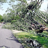 John P. Cleary | The Herald Bulletin <br /> Tornado cleanup starts in the Pendleton area after Monday's storms. Residents get out and walk around checking out the damage from the tornado along John Street.