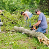 Don Knight | The Herald Bulletin<br /> Jason, Mindi and Kaylee Clendenen clear trees from gravestones at the cemetery in Huntsville on Wednesday.