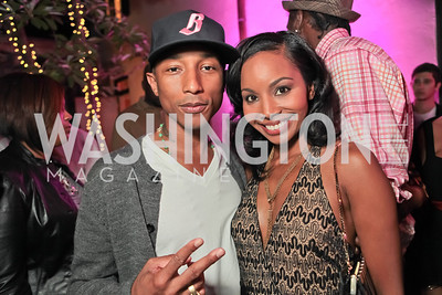 Pharrell WIlliams, Cynne Simpson. Pharrell WIlliams introduces his new liqueur Qream. September 30, 2011. Photo by Alfredo Flores