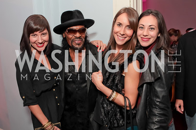 Corcoran Gallery of Art's Kristin Guiter, Chuck Brown, Melanie Kimmelman, Rachel Cothran. Pharrell WIlliams, Cynne Simpson. Pharrell WIlliams introduces his new liqueur Qream. September 30, 2011. Photo by Alfredo Flores