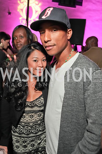 Nicole Siobal, Pharrell WIlliams. Pharrell WIlliams introduces his new liqueur Qream. September 30, 2011. Photo by Alfredo Flores