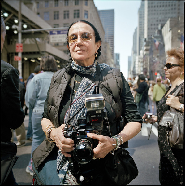 Photographer Mary Ellen Mark at the Easter Parade on 5th Avenue in NYC.  April 3, 2010.