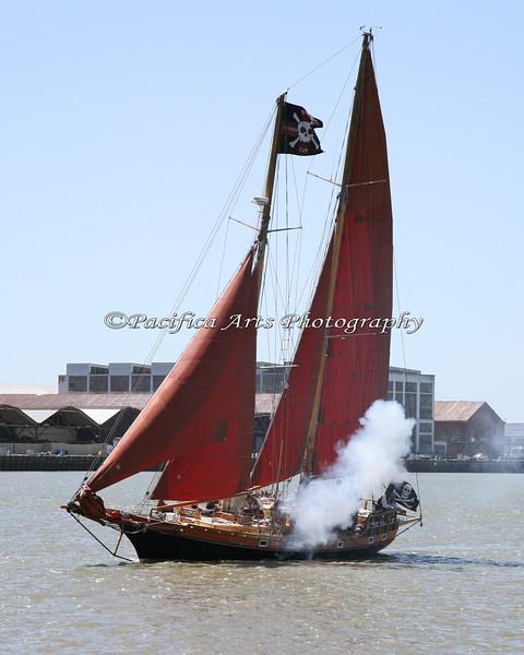 "The schooner, ""Aldebaran"" fires toward the British on shore! 2010"