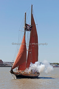"One last firing from the schooner, ""Aldebaran"", and she goes sailing off into the horizon."