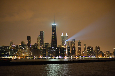 Chicago Night Skyline from Lake Michigan