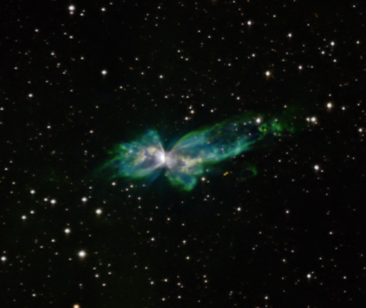 "Bug nebula NGC 6302 in Scorpius, Hubble palette, processed to show faint features not normally seen in amateur shots.  Red: SII 120 min Green H-alpha 440 min Blue OIII 390 min Total exposure 15.8 hours Field 9 min arc across  Stars artificially whitened. Aspen CG16M on 20"" PlaneWave."