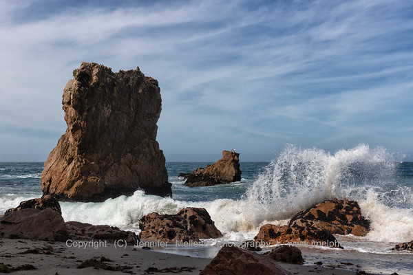 Rock Formations and Wave Crashing at McClures Beach