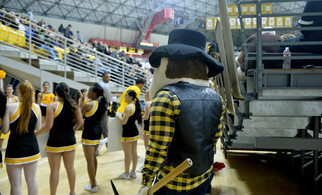 . Connor King, who is the man under the Prospector Pete mascot costume, enters the court at a Long Beach State men\'s basketball game at Walter Pyramid in Long Beach, CA. on Thursday, January 9, 2014. (Photo by Sean Hiller/ Daily Breeze).