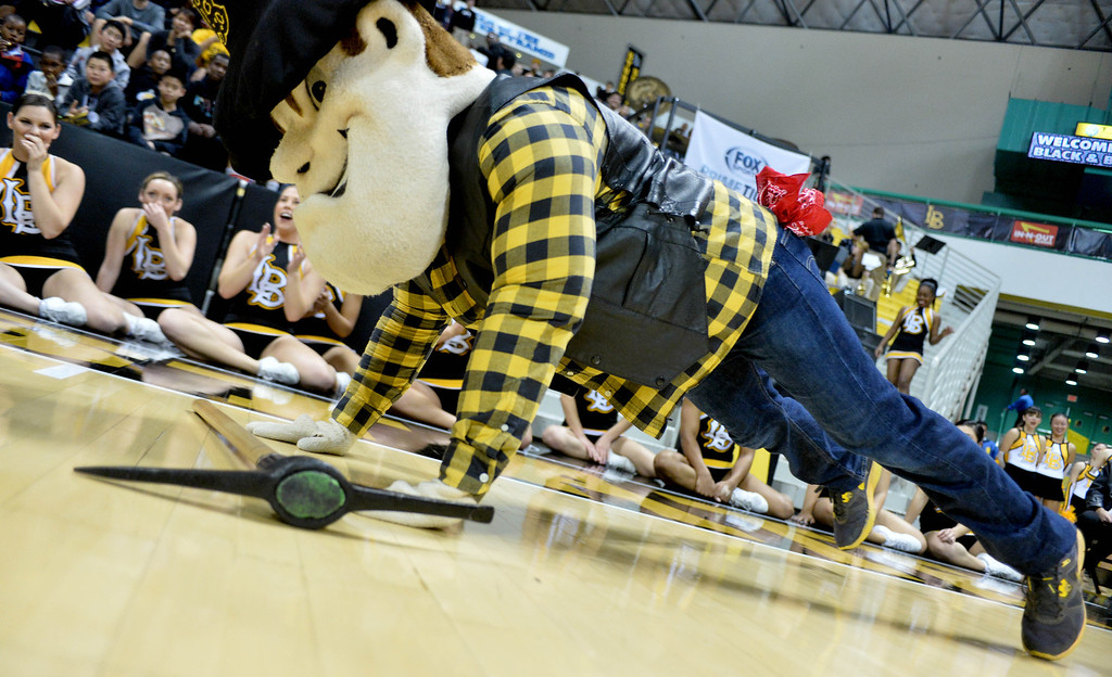 . Connor King, who is the man under the Prospector Pete mascot costume, shows off by doing push ups for the crowd at a Long Beach State men\'s basketball game at Walter Pyramid in Long Beach, CA. on Thursday, January 9, 2014. (Photo by Sean Hiller/ Daily Breeze).
