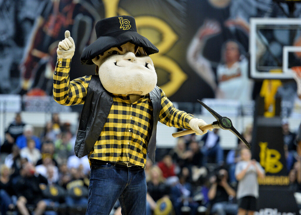 . Connor King, who is the man under the Prospector Pete mascot costume, pumps up the crowd at a Long Beach State men\'s basketball game at Walter Pyramid in Long Beach, CA. on Thursday, January 9, 2014. (Photo by Sean Hiller/ Daily Breeze).