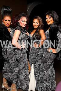 LaCountress Farrington, Raquel Savage Black, Riley Knoxx, Shi-Queeta Lee. Put on the Gloves Fashion Event for the Trevor Project. Photo by Tony Powell. Town. January 27, 2011