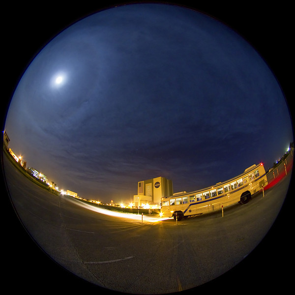 A fisheye shot of a Moon halo from the KSC Press Site parking lot a few hours prior to the launch.