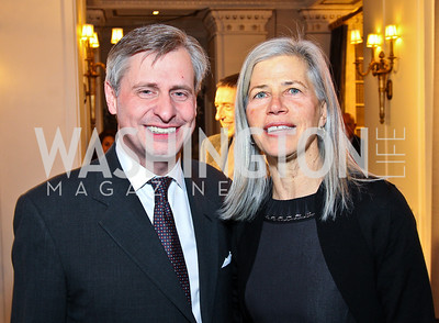 Jon Meacham, Susan Axelrod. Ron Reagan Book Party. Photo by Tony Powell. Jefferson Hotel. January 24, 2011