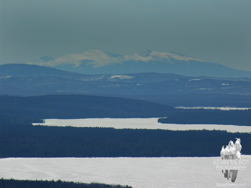 Zoomed view south to the Northern Presidentials. L to R Mounts Washington, Madison and Adams.