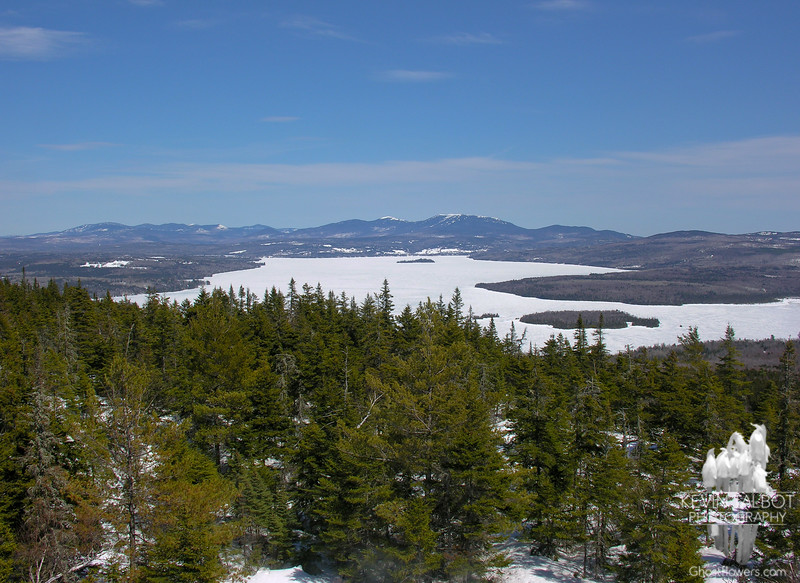 View across Rangeley Lake to Saddleback Mountain.