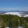 View across Rangeley Lake to Saddleback Mountain.