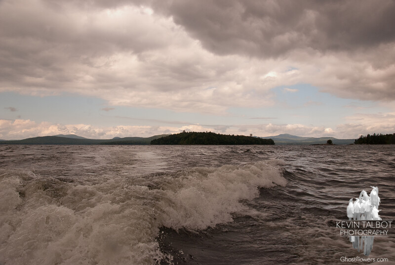 Churning water and sky.