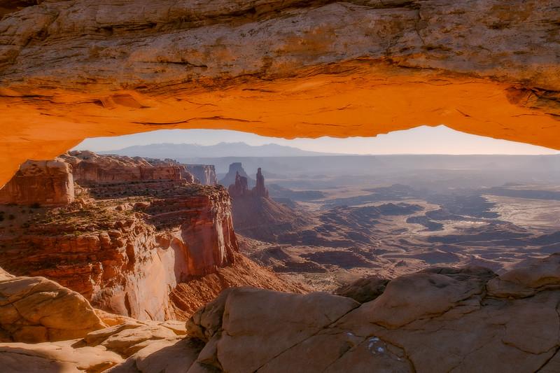Looking through Mesa Arch