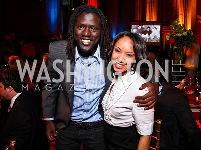 Emmanuel Jal, Teresa Weathington. Photo by Tony Powell. Refugees International 32nd Annual Dinner. Mellon Auditorium. May 5, 2011